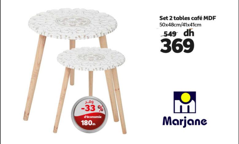 Photo of Soldes chez Marjane Set de 2 tables café MDF à 369Dhs au lieu de 549Dhs