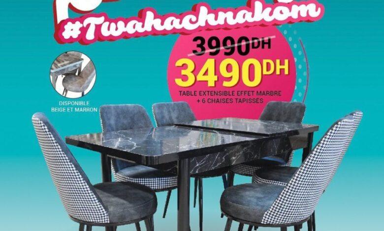 Photo of Soldes Yatout Home Table extensible effet marbre + 6 chaises 3490Dhs au lieu de 3990Dhs