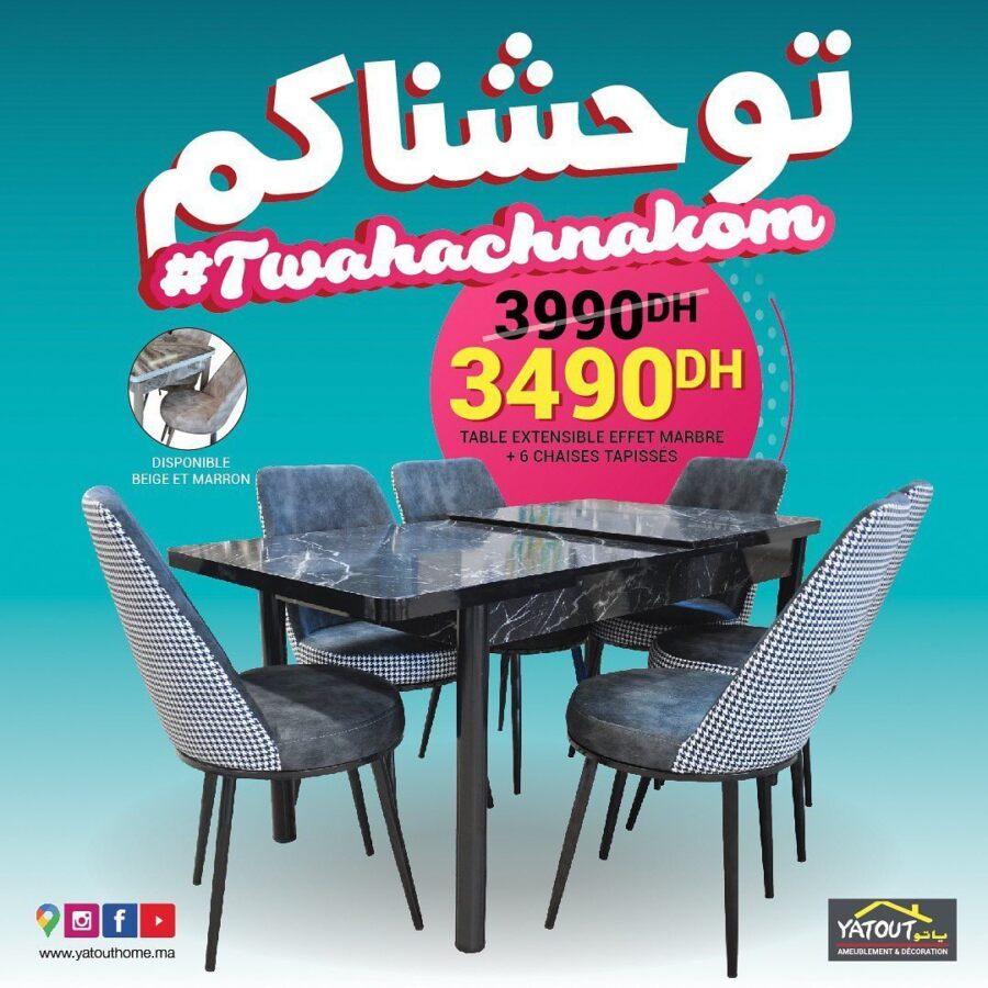 Soldes Yatout Home Table extensible effet marbre + 6 chaises 3490Dhs au lieu de 3990Dhs