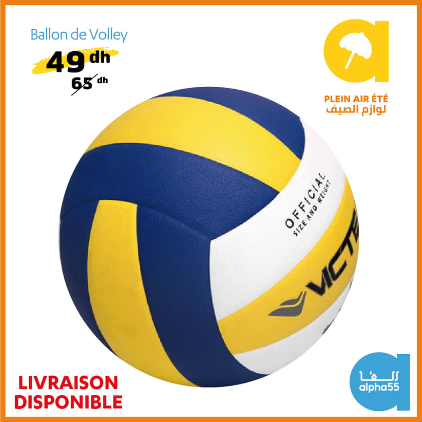 Offre Promotionnel chez Alpha55 Ballon de volley-ball à 49Dhs au lieu de 65Dhs