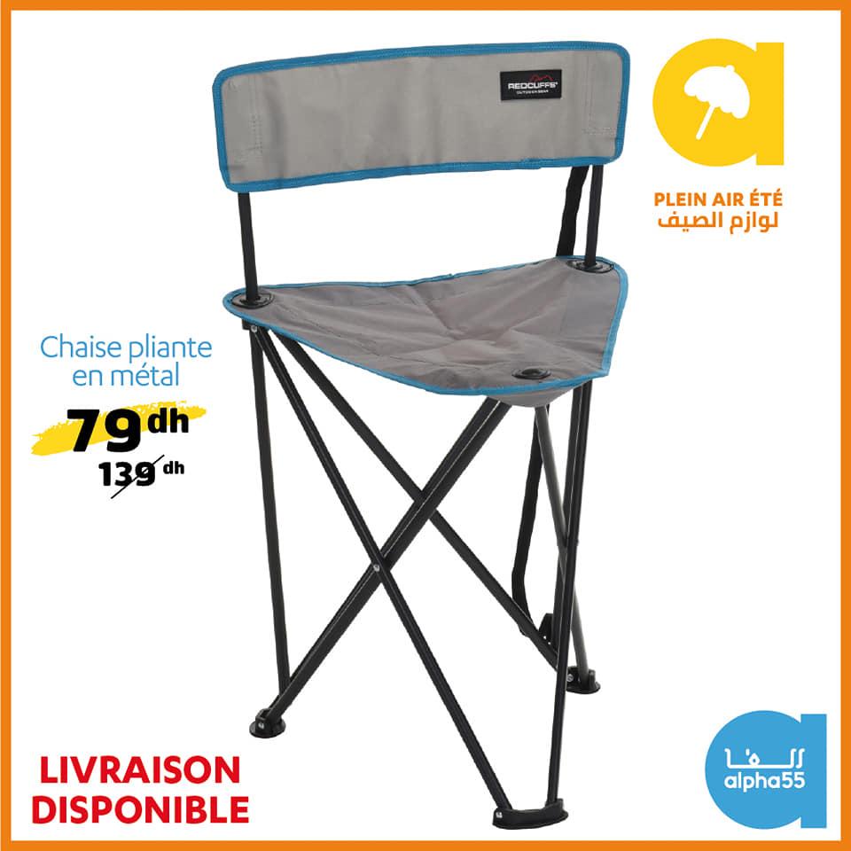 Offre Promotionnel chez Alpha55 Chaise pliante en métal à 79Dhs au lieu de 139Dhs