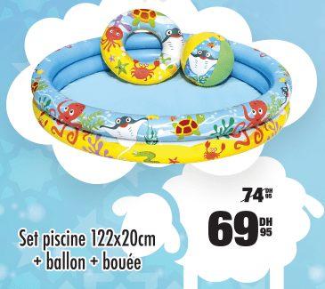 Soldes Aswak Assalam Set piscine + ballon + bouée 69.95Dhs au lieu de 74.95Dhs