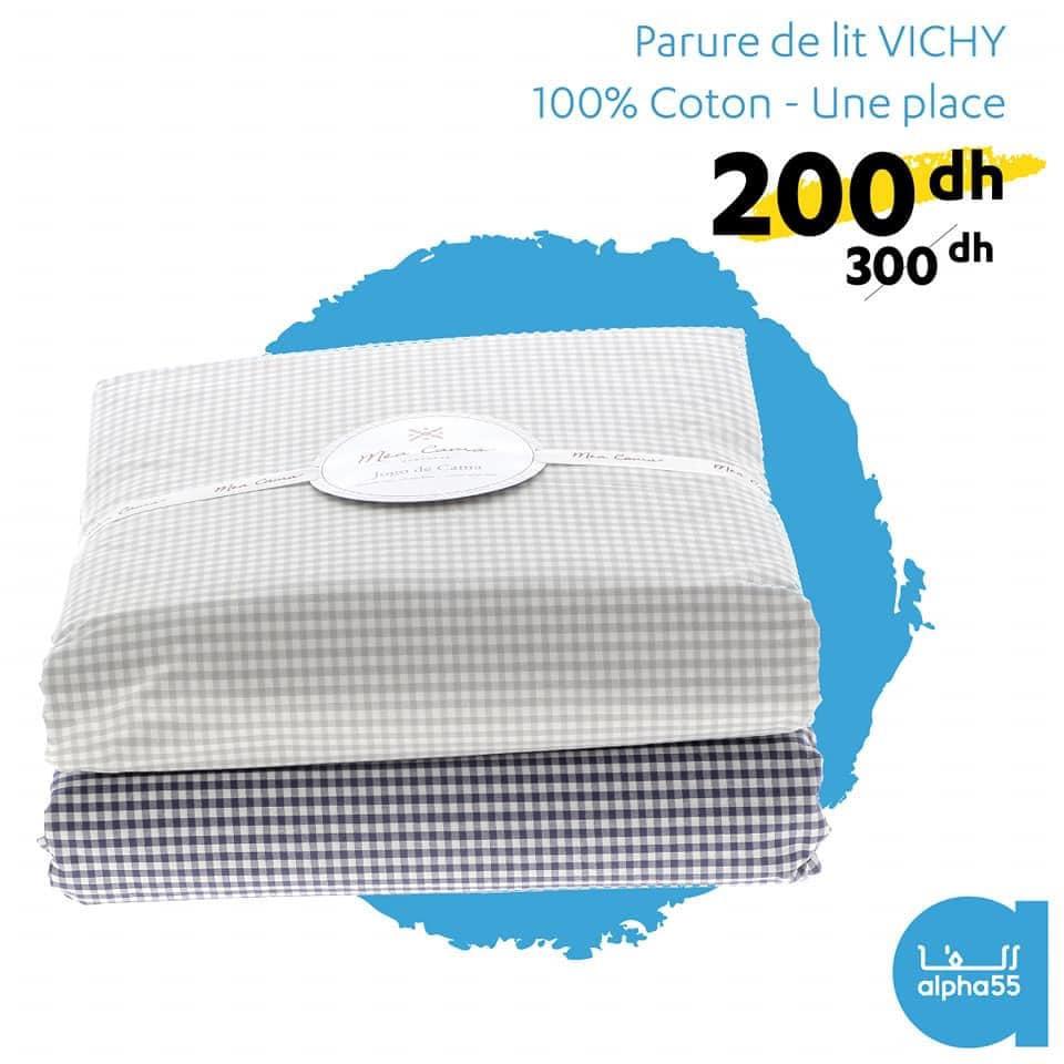 Promo chez Alpha55 Parure de lit VICHY 100% Coton 200Dhs au lieu de 300Dhs