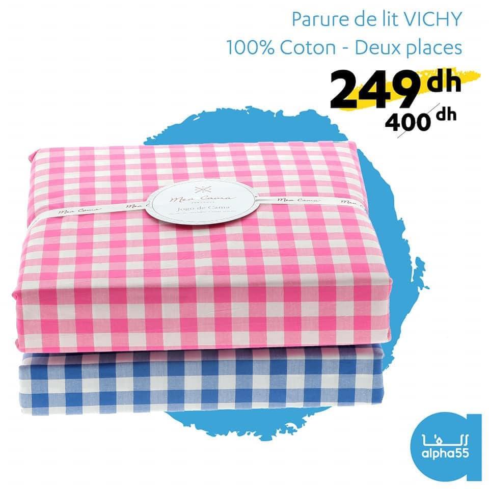 Promo chez Alpha55 Parure de lit VICHY 2 Places 249Dhs au lieu de 400Dhs