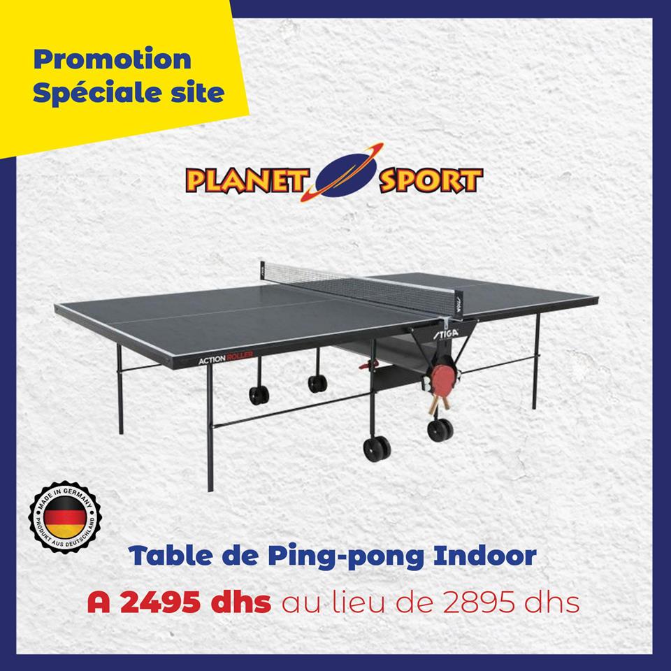 Promo en ligne chez Planet Sport Table Ping-pong indoor 2495Dhs au lieu de 2895Dhs