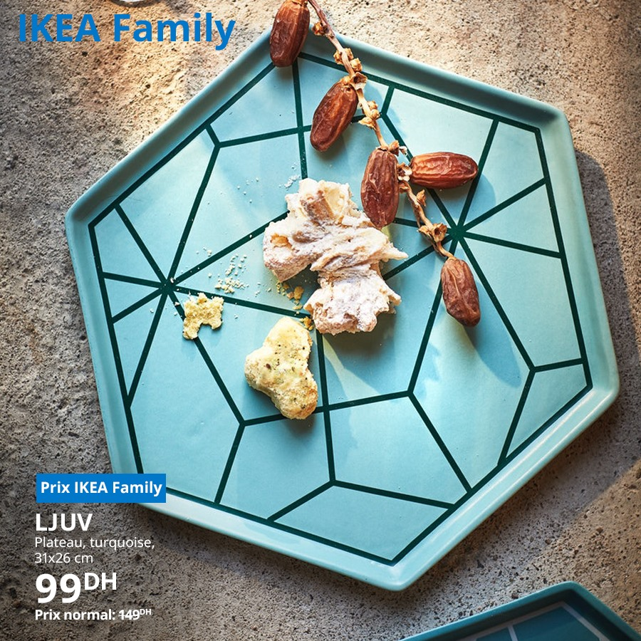 Promo Ikea Family Plateau turquoise LJUV 99Dhs au lieu de 149Dhs