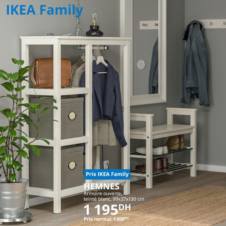 Soldes Ikea Family Armoire ouverte HEMNES teinté blanc 1195Dhs au lieu de 1695Dhs