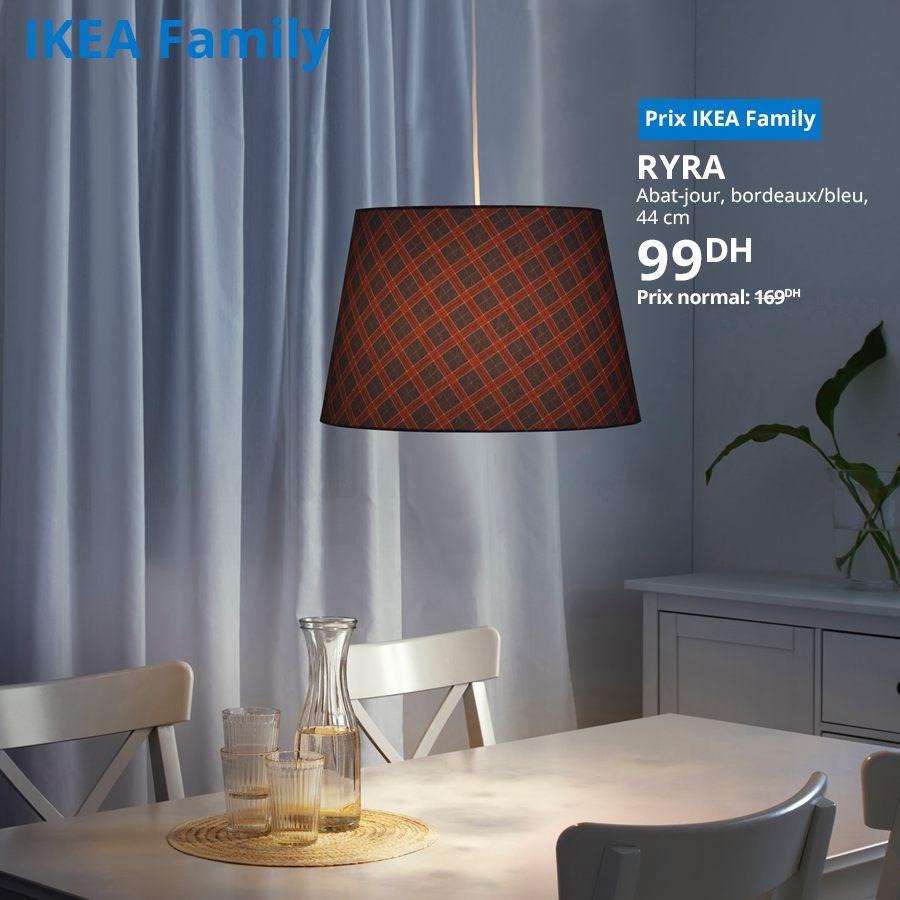 Promo Ikea Family Abat-jour bordeaux/bleu RYRA à 99Dhs au lieu de 169Dhs