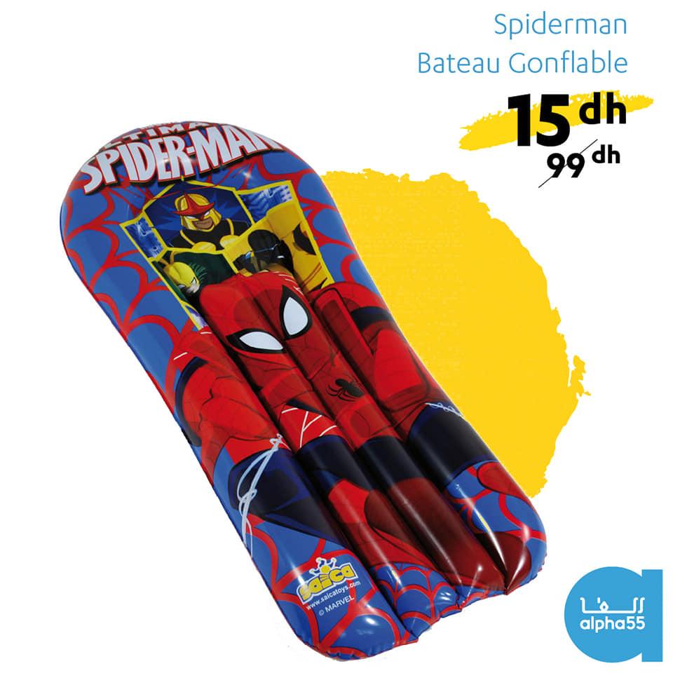 Soldes chez Alpha55 Bateau gonflable Spider-man à 15Dhs au lieu de 99Dhs