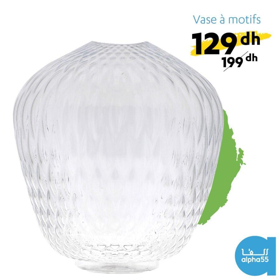 Offre Promotionnel chez Alpha55 Vase à en verre à motifs 129Dhs au lieu de 199Dhs