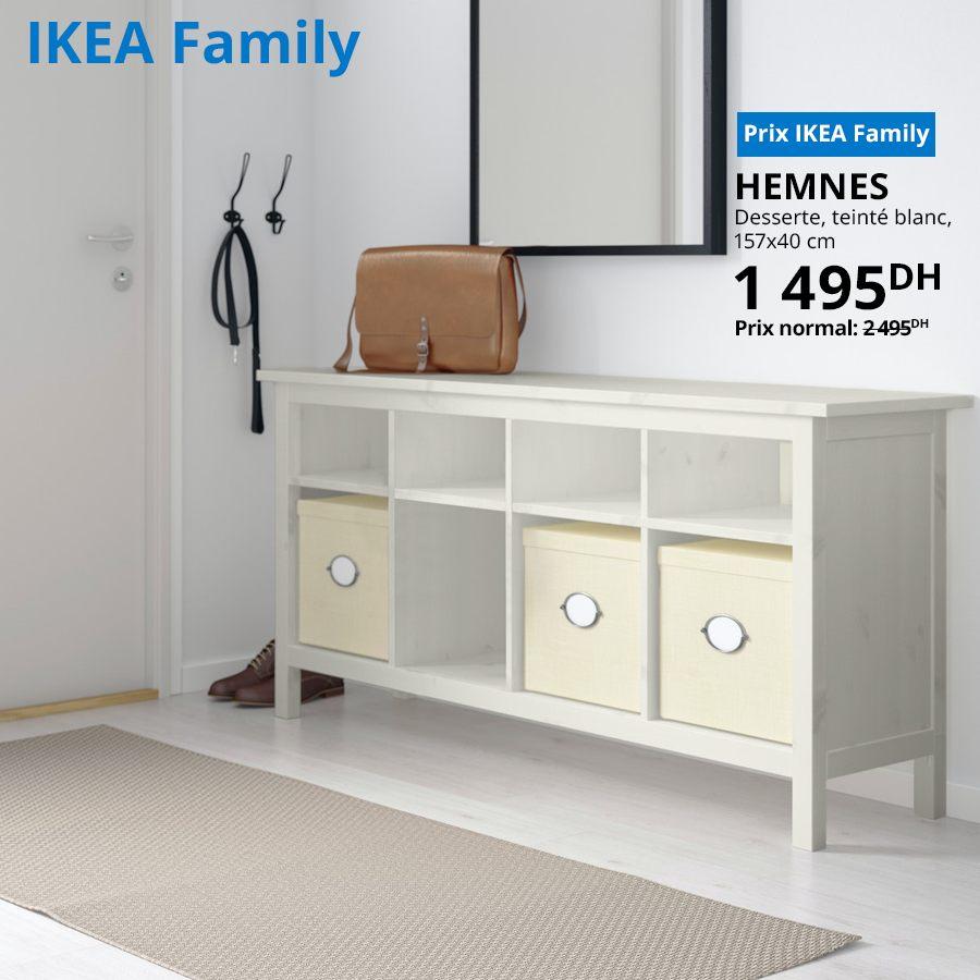 Promo Ikea Family Desserte teinté blanc HEMNES 1495Dhs au lieu de 2495Dhs