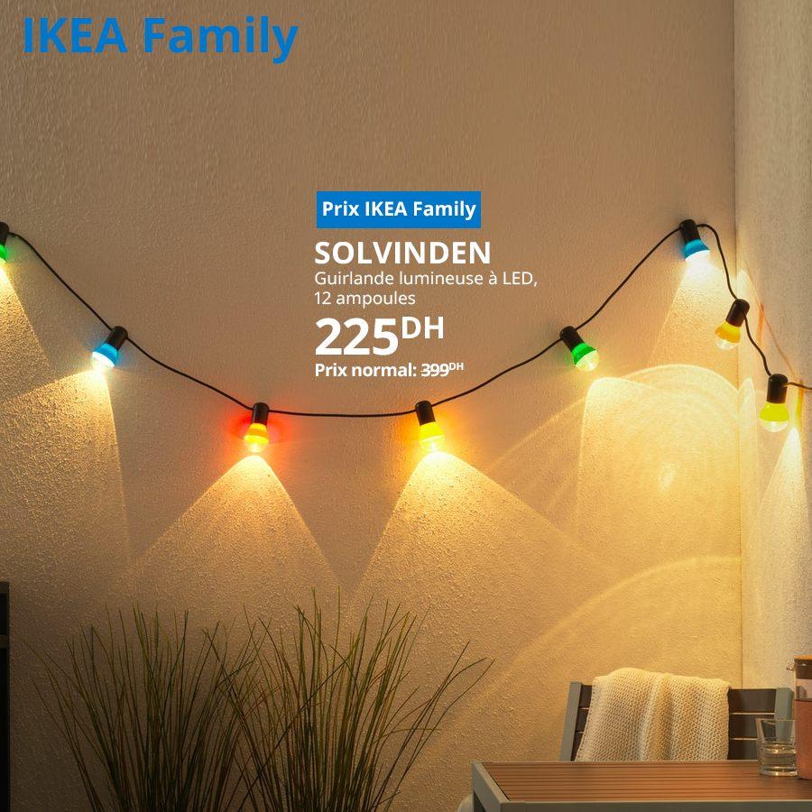 Soldes Ikea Family Guirlande lumineuse LED SOLVINDEN 12 Ampoules 225Dhs au lieu de 399Dhs