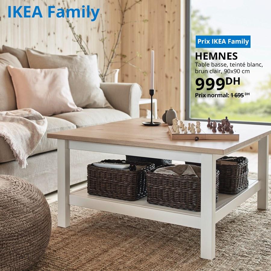 Soldes Ikea Family Table basse teinté blanc HEMNES 999Dhs au lieu de 1695Dhs