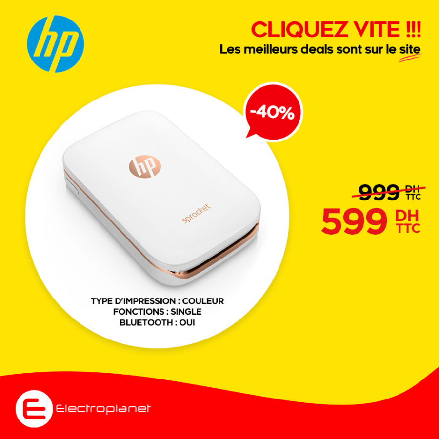 Promo chez Electroplanet Imprimante Photo SPROCKET HP 599Dhs au lieu de 999Dhs