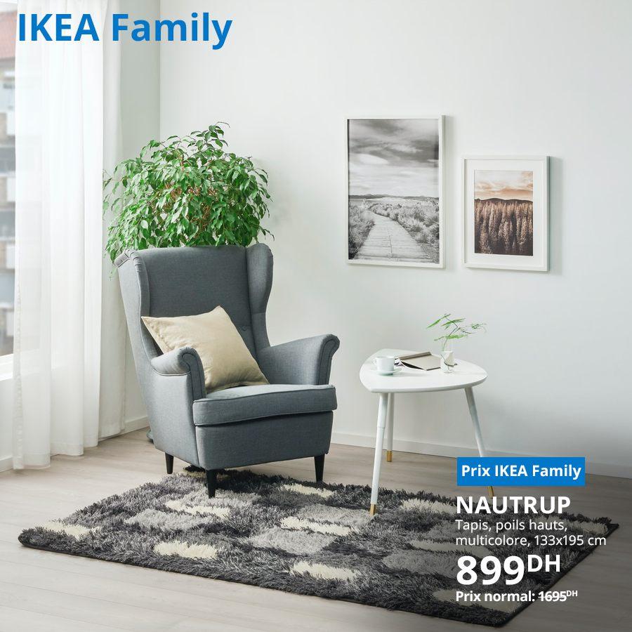 Promo Ikea Family Tapis poils hauts NAUTRUP 899Dhs au lieu de 1695Dhs