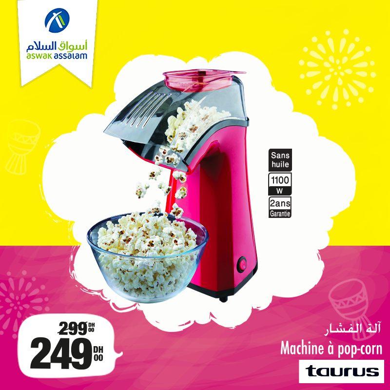 Promo Aswak Assalam Machine à Popcorn TAURUS 249Dhs au lieu de 299Dhs