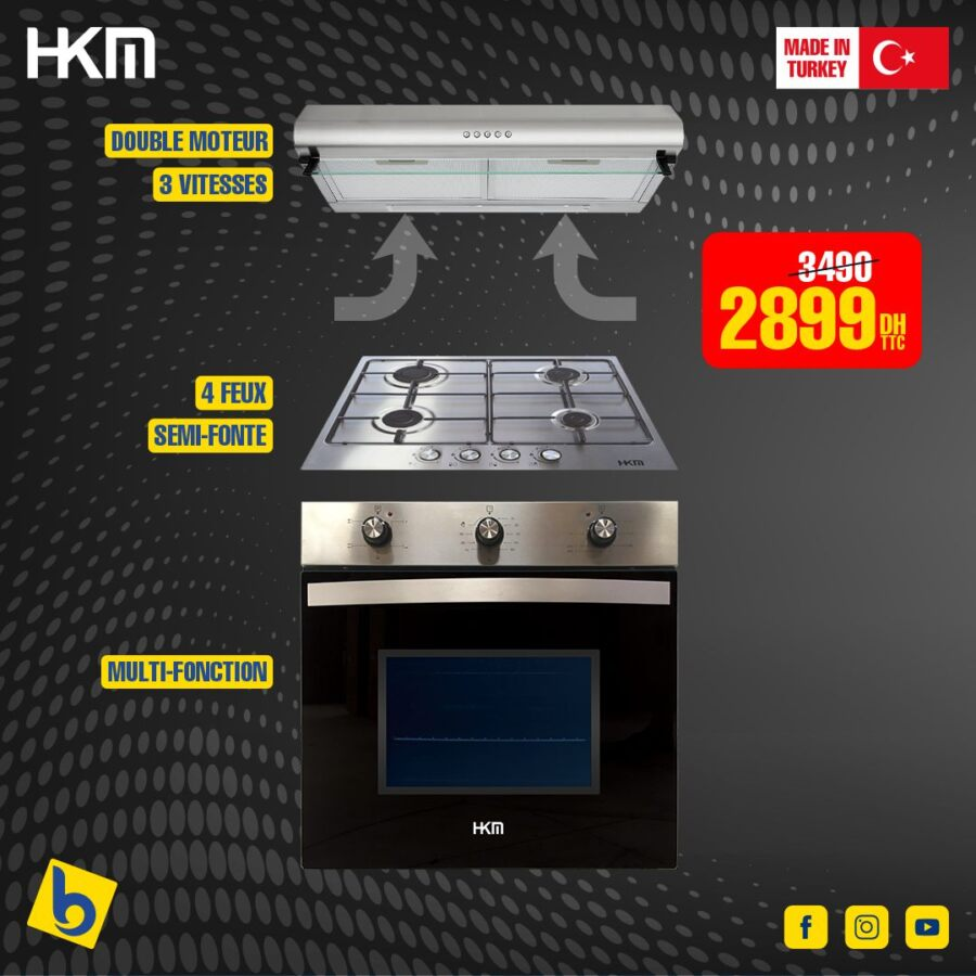 Promo Electro Bousfiha Pack Trio Cuisson made in Turquie 2899Dhs au lieu de 3490Dhs