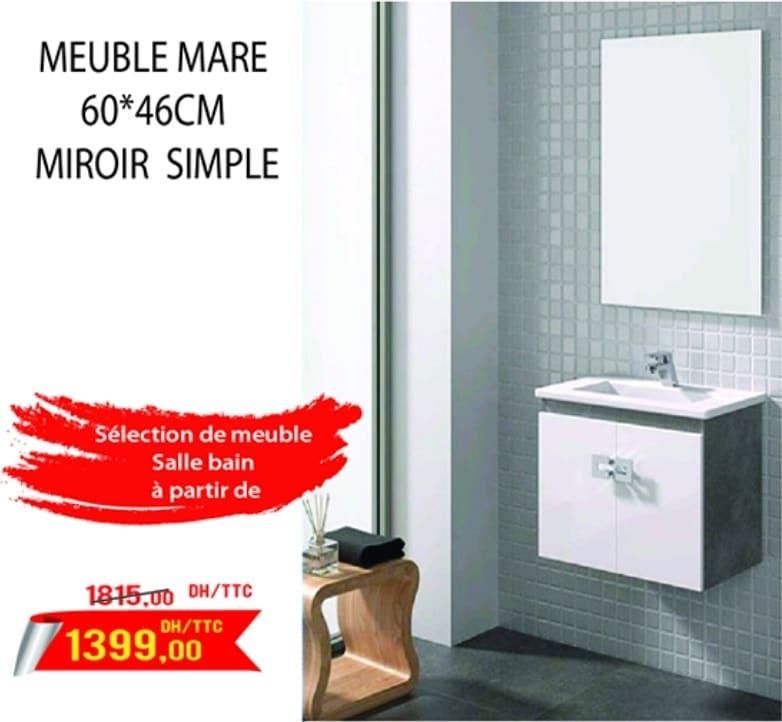 Promo Bricodéco Meuble MARE avec miroir 1399Dhs au lieu de 1815Dhs