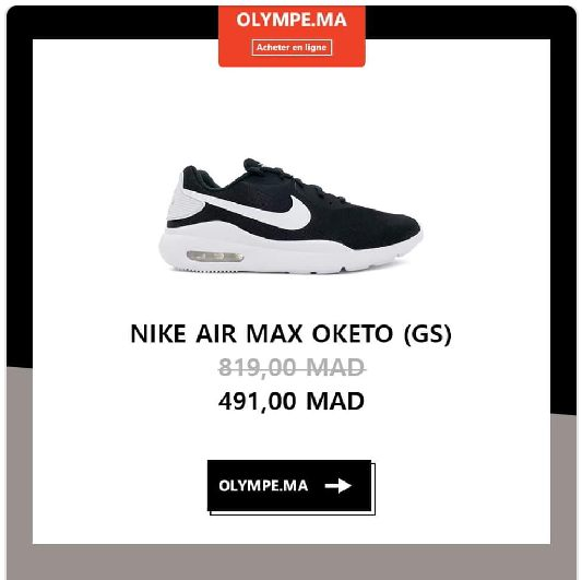 Soldes Olympe Store Chaussure NIKE air MAX OKETO 491Dhs au lieu de 819Dhs
