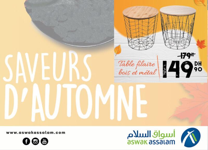 Soldes Aswak Assalam Table filaire bois et métal 149Dhs au lieu de 179Dhs