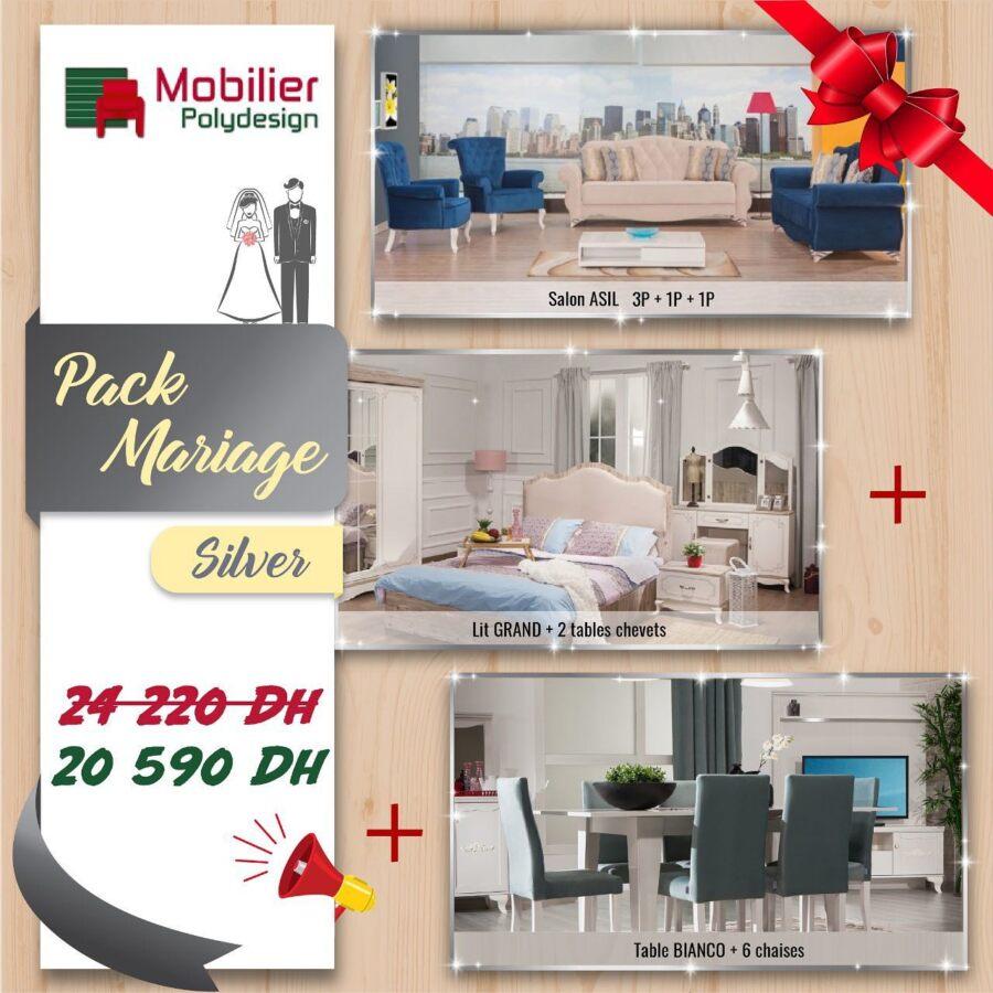 Promo Mobilier Poly Design PACKS MARIAGE à partir de 20590Dhs au lieu de 24220Dhs