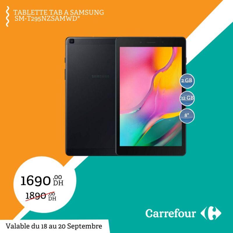 Soldes Carrefour Maroc Tablette TAB A SAMSUNG 1690Dhs au lieu de 1890Dhs