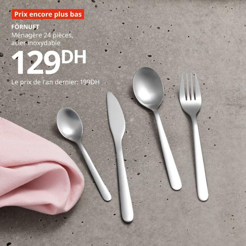 Prix encore plus bas Ikea Maroc Ménagère 24 Pièces FORNUFT 129Dhs au lieu de 199Dhs
