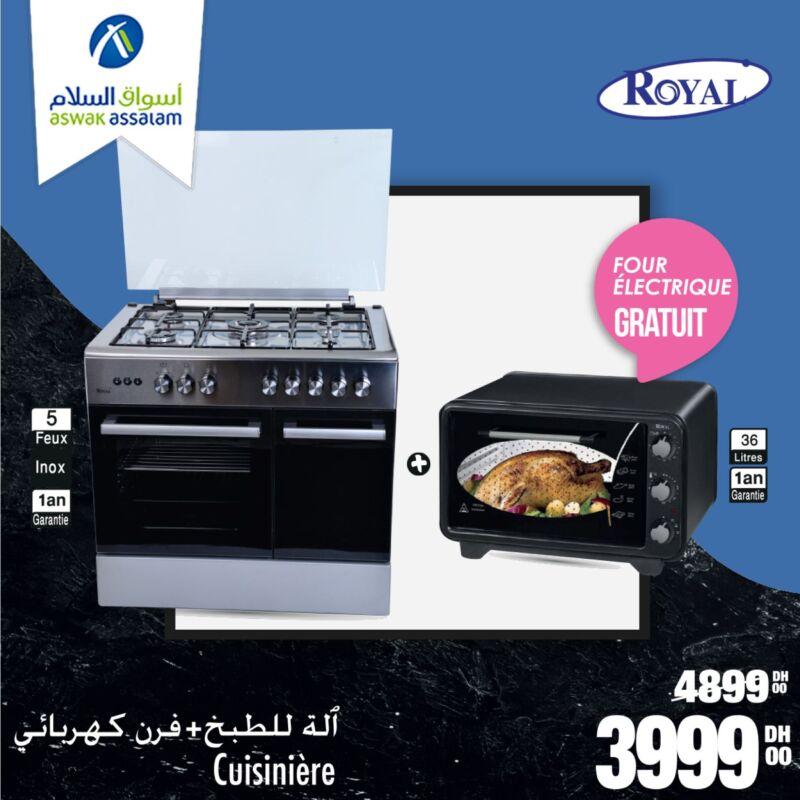 Promo Aswak Assalam Cuisinière + four 36L ROYAL 3999Dhs au lieu de 4899Dhs