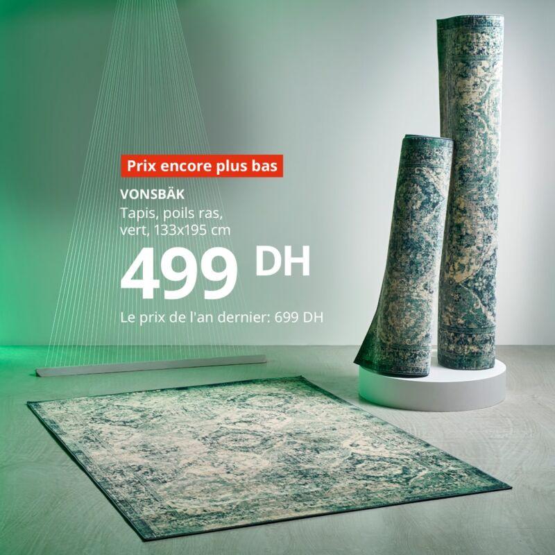 Prix encore plus bas Ikea Maroc Tapis poils ras vert VONSBAK 499Dhs au lieu de 699Dhs