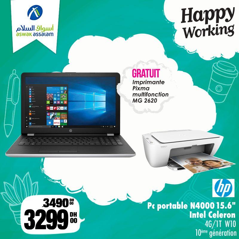 Promo Aswak Assalam Pc Portable HP N4000 + Imprimante CANON 3299Dhs au lieu de 3490Dhs