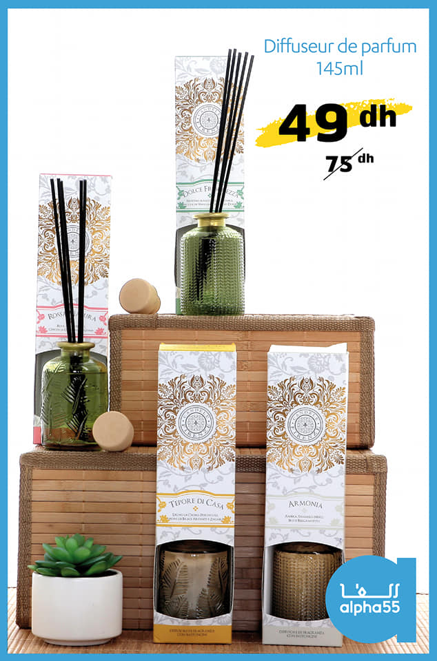 Promo Alpha55 Diffuseur de parfum 145ml 49Dhs au lieu de 75Dhs
