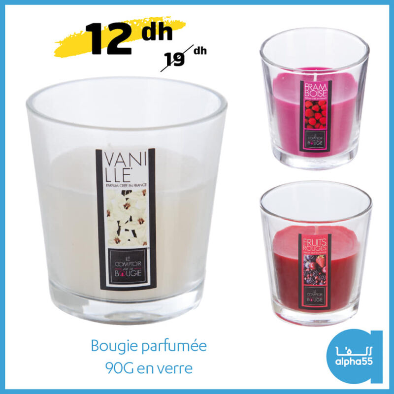 Promo chez Alpha55 Bougie parfumée 90G en verre 12Dhs au lieu de 19Dhs