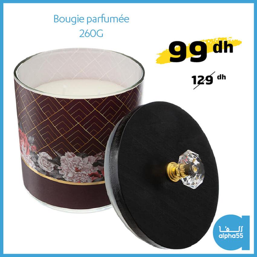 Offre Promotionnel chez Alpha55 Bougie parfumée 260g 99Dhs au lieu de 129Dhs