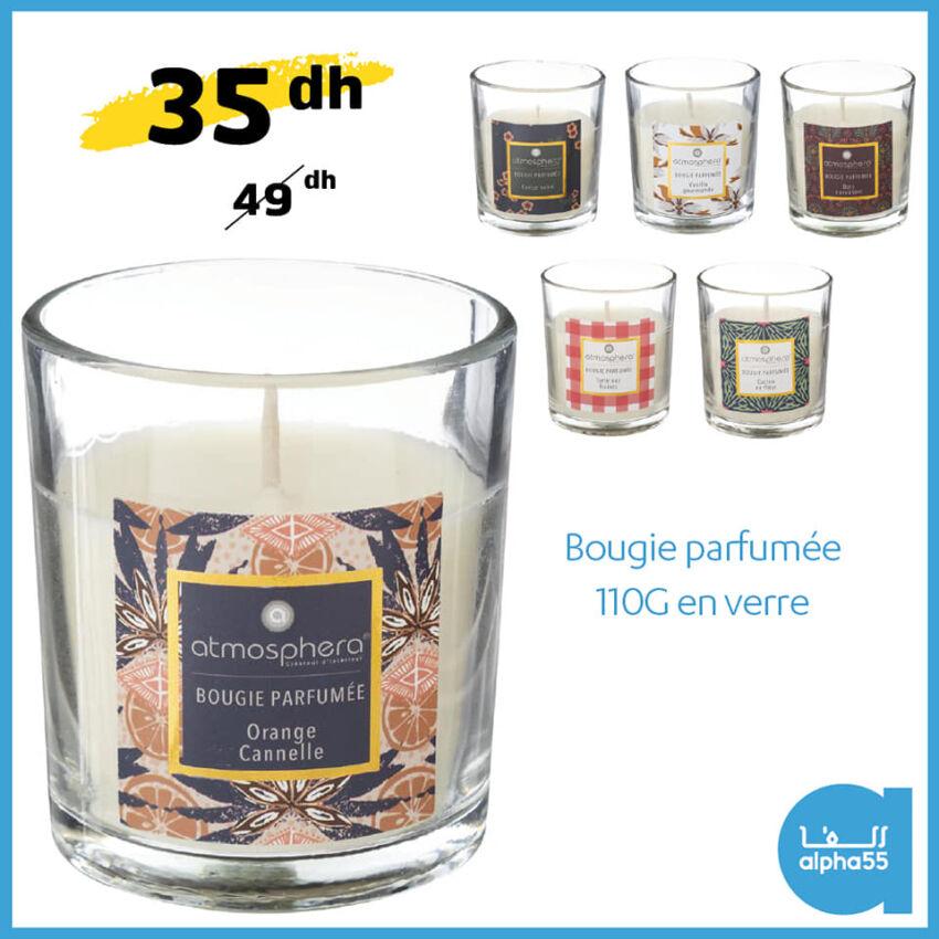 Promo chez Alpha55 Bougie parfumée 110g en verre 99Dhs au lieu de 129Dhs