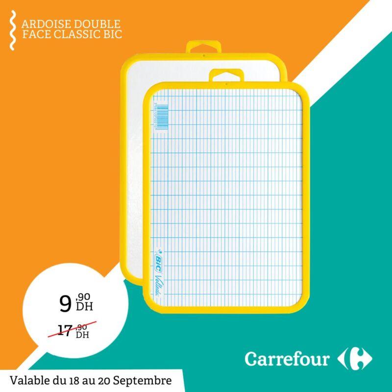 Soldes Carrefour Maroc Ardoise double face BIC 9Dhs au lieu de 17Dhs