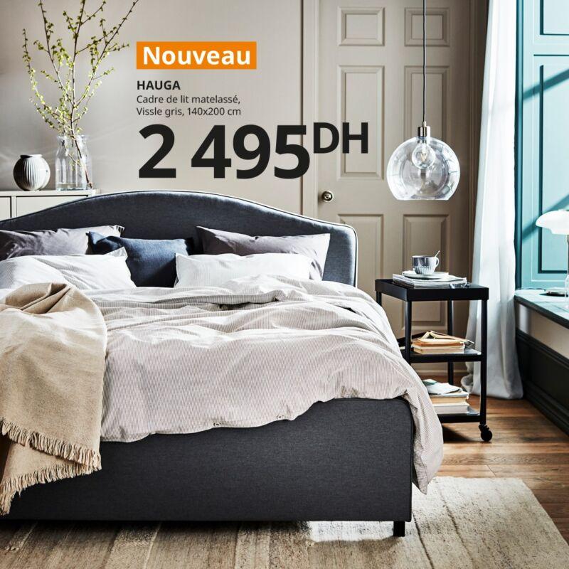 Nouvelle Collection Ikea Maroc Cadre de lit matelassé HAUGA à 2495Dhs