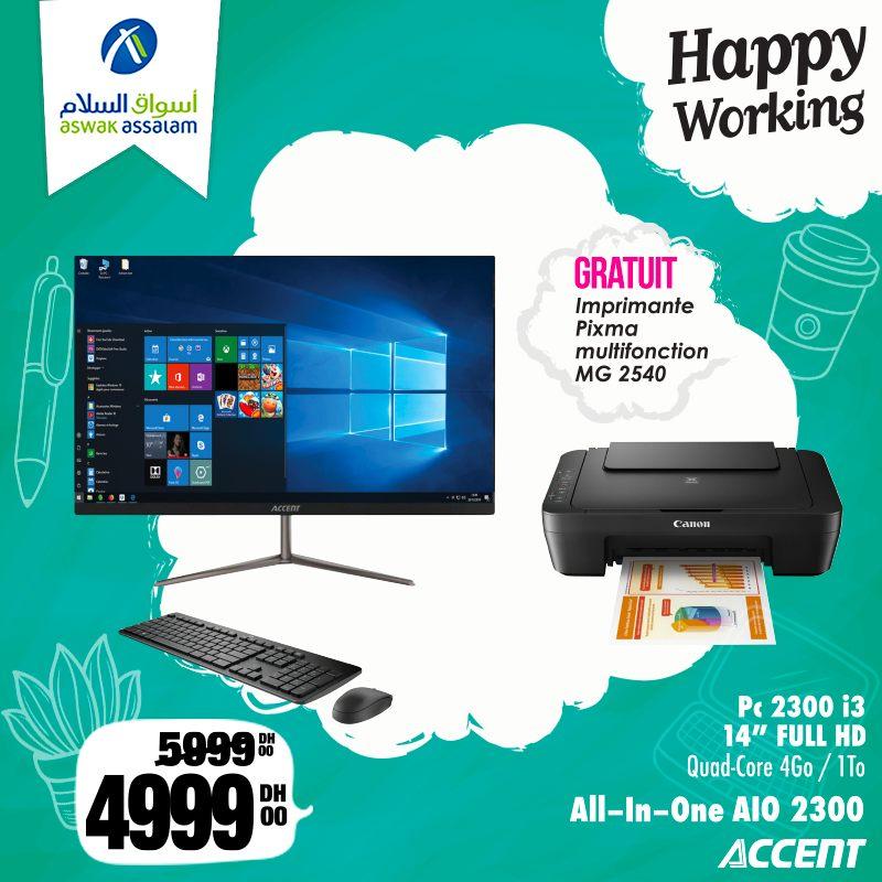 Promo Aswak Assalam Pc ALL IN ONE ACCENT + Imprimante CANON 4999Dhs au lieu de 5999Dhs