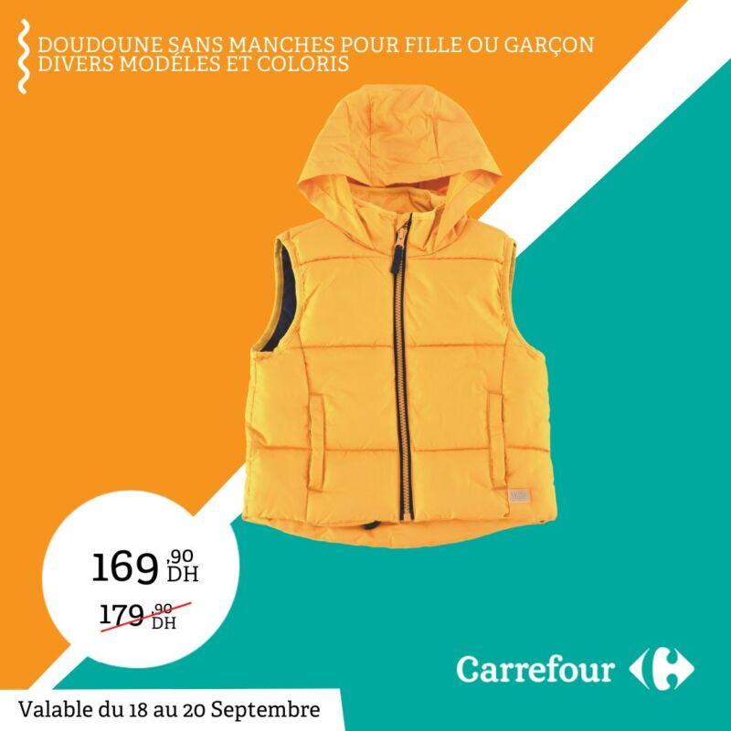 Soldes Carrefour Maroc Doudoune sans Manches 169Dhs au lieu de 179Dhs