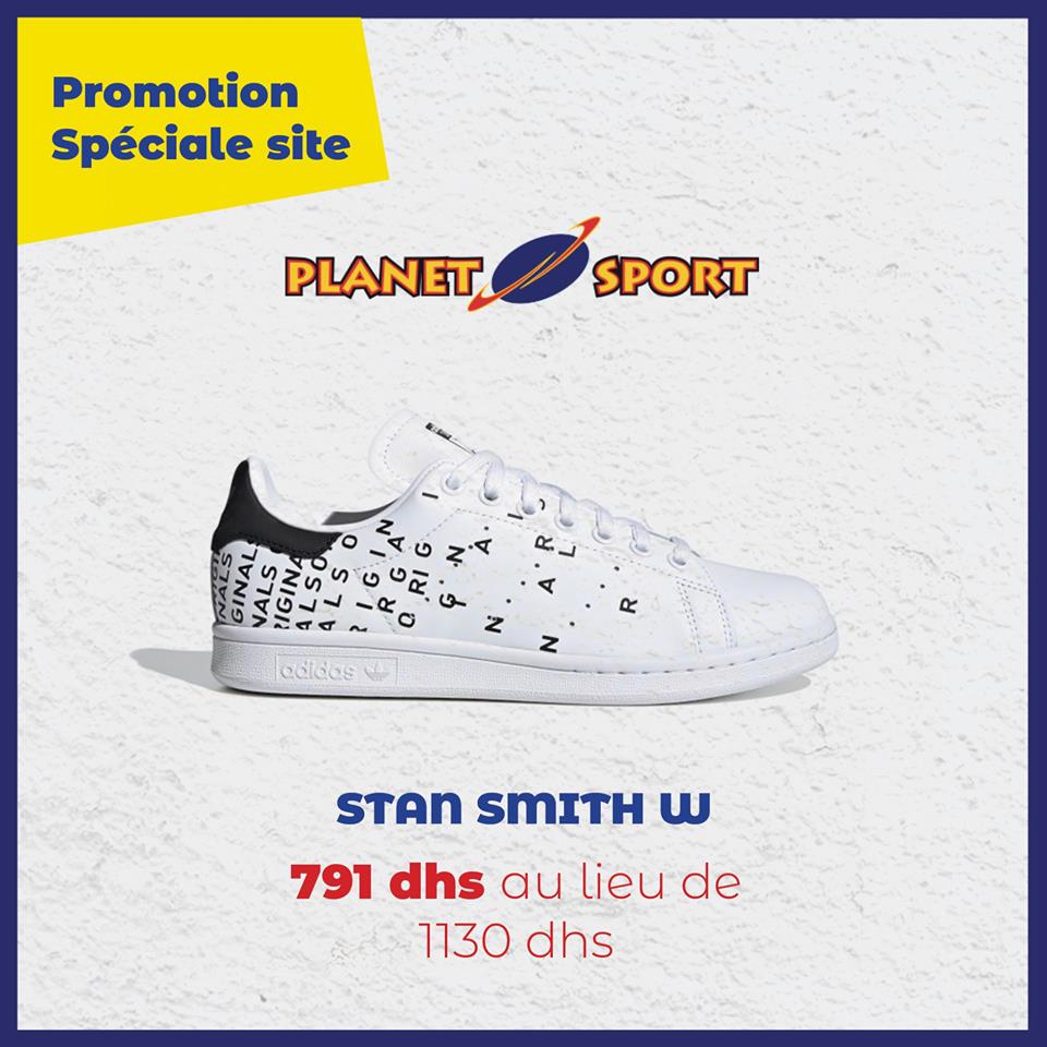 Promo Spéciale site Planet Sport Stan Smith W 791Dhs au lieu de 1130Dhs
