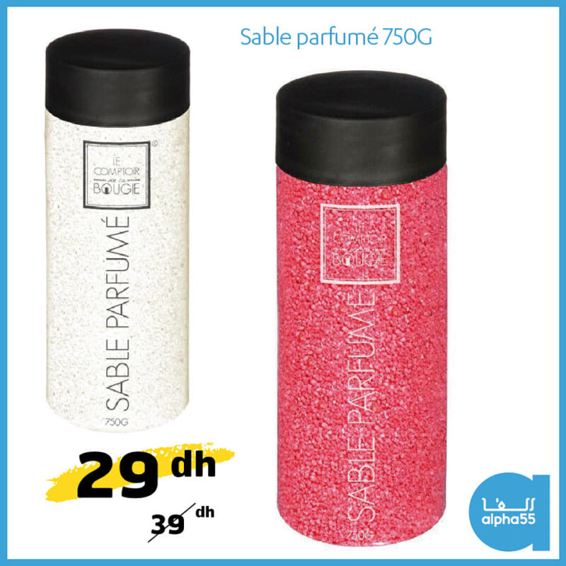 Soldes chez Alpha55 Sable parfumé 750g 29Dhs au lieu de 39Dhs