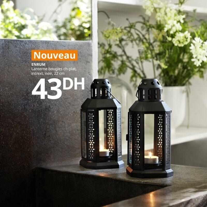 Nouvelle Collection chez Ikea Maroc Lanterne bougies ENRUM à 43Dhs