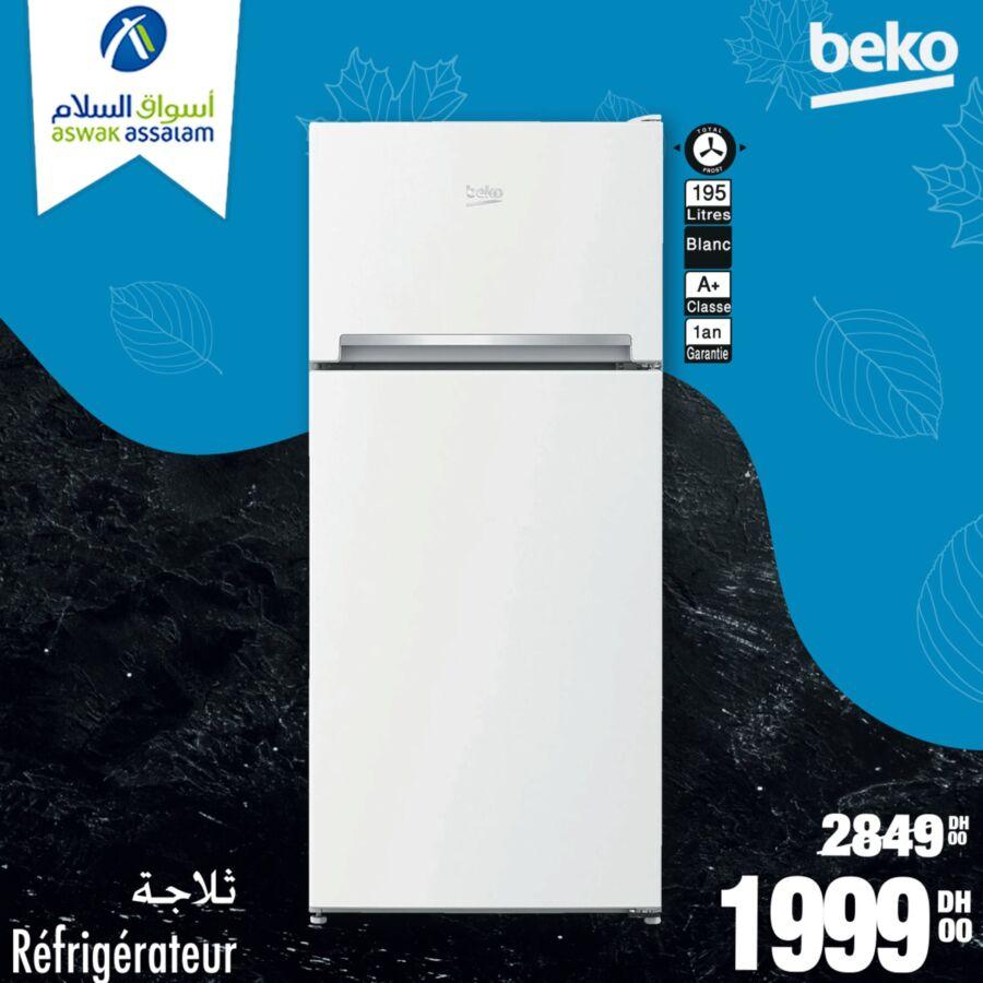 Soldes Aswak Assalam Réfrigérateur 195L BEKO 1999Dhs au lieu de 2849Dhs