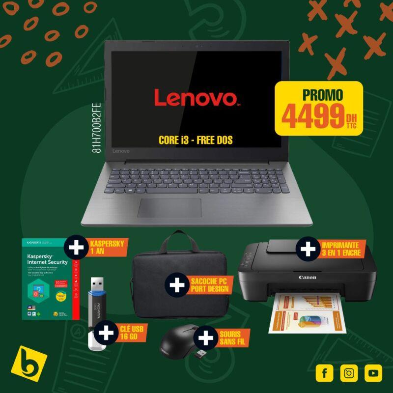 Promo chez Electro Bousfiha Pack rentrée Pc Portable + Accessoires à 4499Dhs
