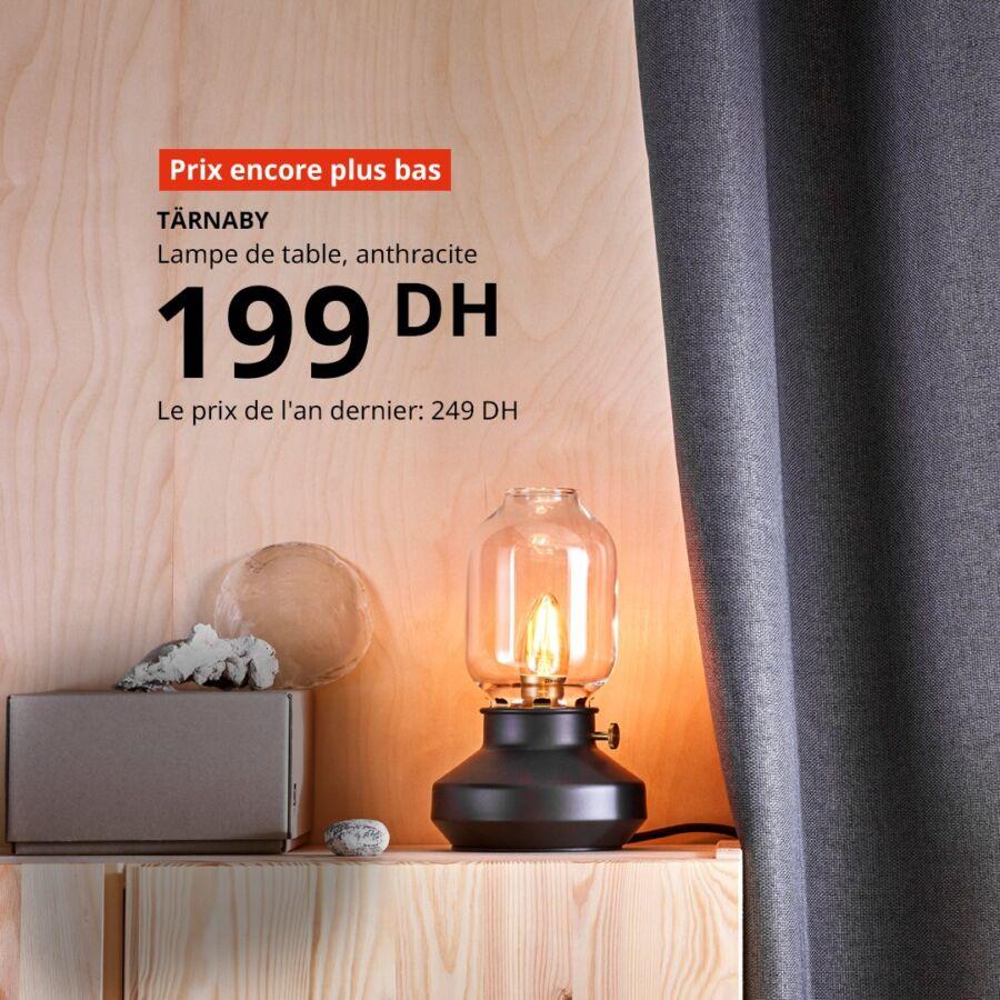 Promo Ikea Maroc Lampe de table anthracite TARNABY 199Dhs au lieu de 249Dhs