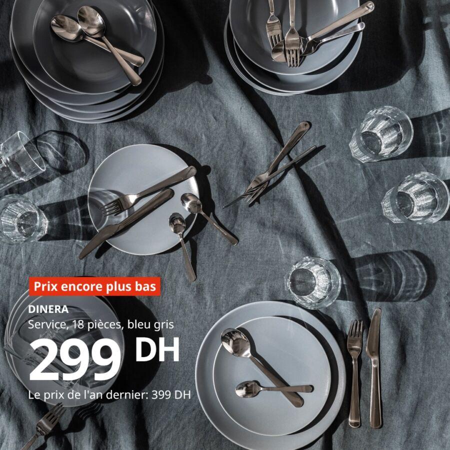 Prix encore plus bas Ikea Maroc Service 18 pièces DINERA 299Dhs au lieu de 399Dhs