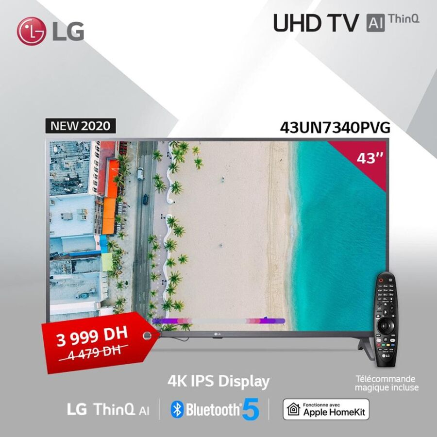 Soldes LG Maroc Smart TV 43° IPS Display 4K UHD 3999Dhs au lieu de 4479Dhs