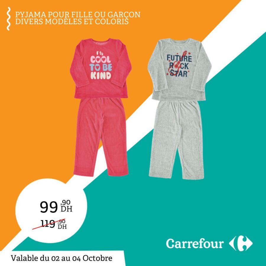 Promo Carrefour Maroc Pyjamas pour Fille et Garçon 99Dhs au lieu de 119Dhs