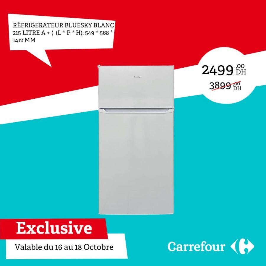 Soldes Carrefour Maroc Réfrigérateur 215L BLUESKY 2499Dhs au lieu de 3899Dhs