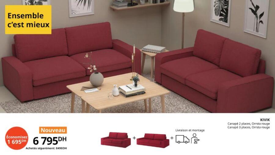 Offre Ensemble c'est mieux Ikea Maroc Canapé 2 + 3 places KIVIK 6795Dhs au lieu de 8490Dhs