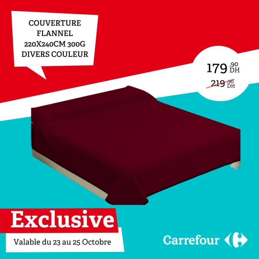 Soldes Carrefour Maroc Couverture flanelle divers couleur 179Dhs au lieu de 219Dhs